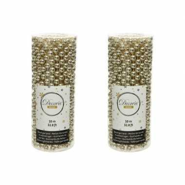 2x stuks champagne beige kralenslingers kerstboom slingers/guirlandes 10 met
