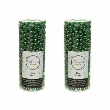 2x stuks kerst groene kralenslingers kerstboom slingers/guirlandes 10 meter