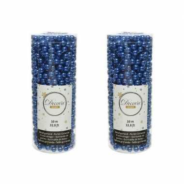 2x stuks kobalt blauwe kralenslingers kerstboom slinger/guirlande 10 meter