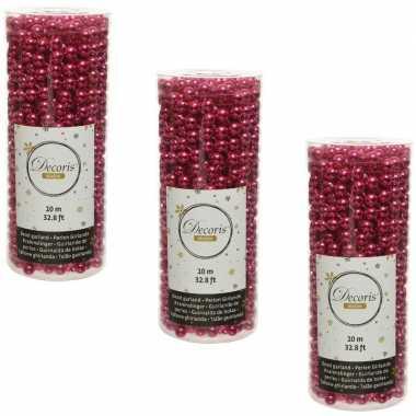 3x stuks bessen roze kralenslingers kerstboom slingers/guirlandes 10 meter