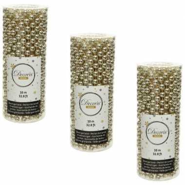 3x stuks champagne beige kralenslingers kerstboom slingers/guirlandes 10 met