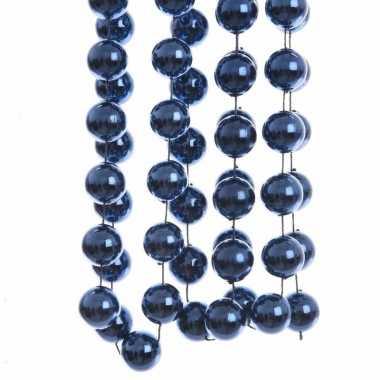3x stuks donkerblauwe xxl kralenslingers kerstslingers 270 cm