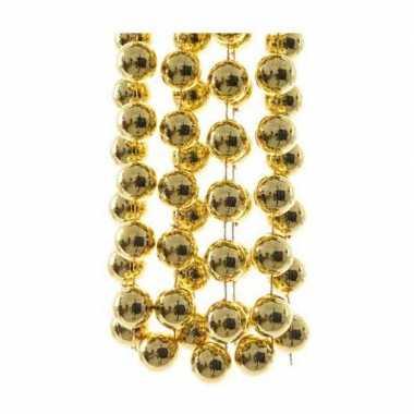 3x stuks gouden xxl kralenslingers kerstslingers 270 cm