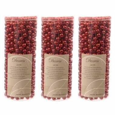 3x stuks kerst rode kralenslingers kerstslingers 10 mtr