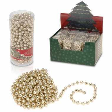 3x stuks kerstboomversiering gouden kralenslingers kerstslingers 7,5