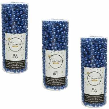 3x stuks kobalt blauwe kralenslingers kerstboom slinger/guirlande 10 meter