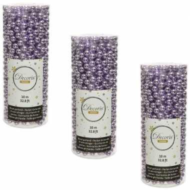 3x stuks lila paarse kralenslingers kerstboom slingers/guirlandes 10 meter