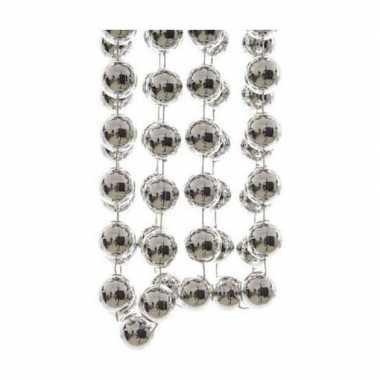 3x stuks zilveren xxl kralenslingers kerstslingers 270 cm