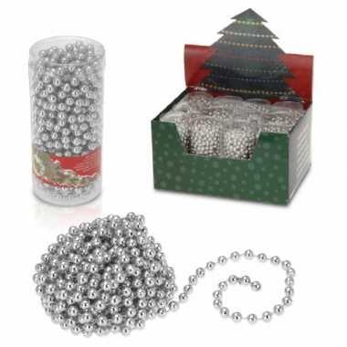 4x stuks kerstboomversiering zilveren kralenslingers kerstslingers 7.
