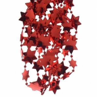 6x stuks kerst rode sterren kralenslingers kerstslingers 270 cm