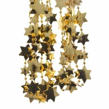 8x stuks gouden sterren kralenslingers kerstslingers 270 cm
