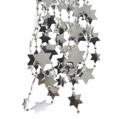 8x stuks zilveren sterren kralenslingers kerstslingers 270 cm