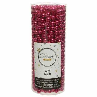 Bessen roze kralenslingers kerstboom slingers/guirlandes 10 meter