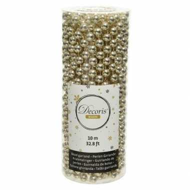 Champagne beige kralenslingers kerstboom slingers/guirlandes 10 met