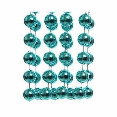 Feestversiering kralen slinger turquoise blauw sterretjes 270 cm kunststof/plastic kerstversiering