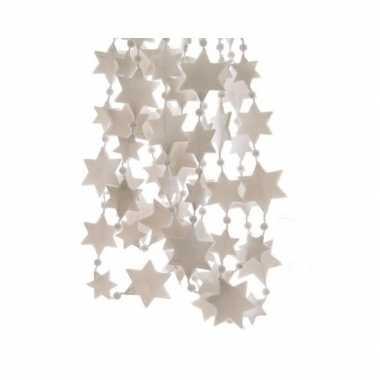 Feestversiering kralen slinger winter wit sterretjes 270 cm kunststof
