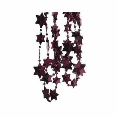 Feestversiering kralen slingers aubergine paars sterretjes 270 cm kunststof/plastic kerstversiering 2 stuks