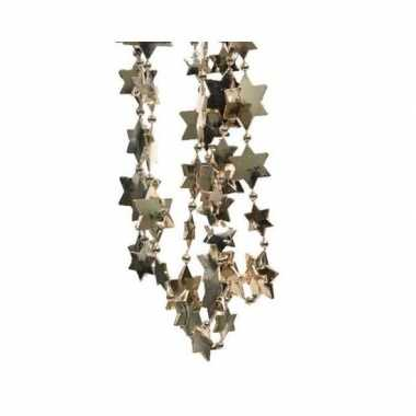 Feestversiering kralen slingers donker parel/champagne sterretjes 270 cm kunststof/plastic kerstversiering 2 stuks