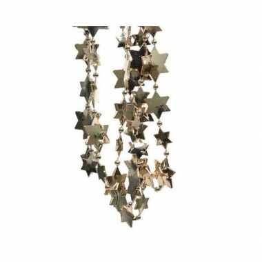Feestversiering kralen slingers donker parel/champagne sterretjes 270 cm kunststof/plastic kerstversiering 3 stuks