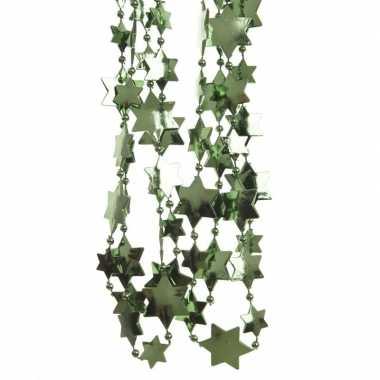 Feestversiering kralen slingers donkergroen sterretjes 270 cm kunststof/plastic kerstversiering 3 stuks