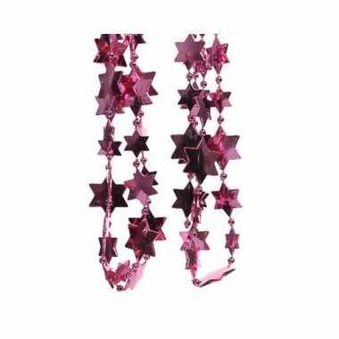 Feestversiering kralen slingers fuchsia roze sterretjes 270 cm kunststof/plastic kerstversiering 2 stuks