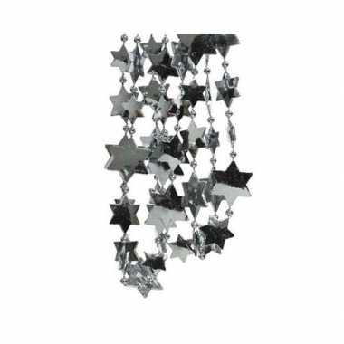 Feestversiering kralen slingers grijsblauw sterretjes 270 cm kunststof/plastic kerstversiering 2 stuks