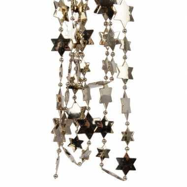 Feestversiering kralen slingers kasjmier bruin sterretjes 270 cm kunststof/plastic kerstversiering 2 stuks