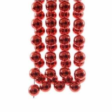 Feestversiering kralen slingers kerst rode sterretjes 270 cm kunststof/plastic kerstversiering 2 stuks
