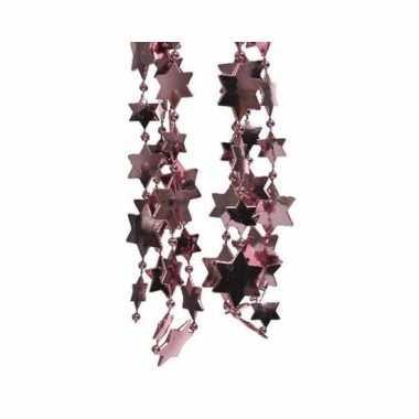 Feestversiering kralen slingers oud roze sterretjes 270 cm kunststof/plastic kerstversiering 2 stuks