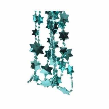 Feestversiering kralen slingers turquoise blauw sterretjes 270 cm kunststof/plastic kerstversiering 2 stuks
