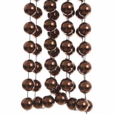 Glamour christmas bruine kerstversiering grote kralenslinger 270 cm