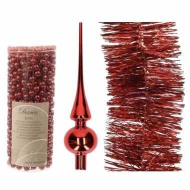 Kerstboom optuigen set rood glazen piek, 1x kralenslinger, 1x folieslinger