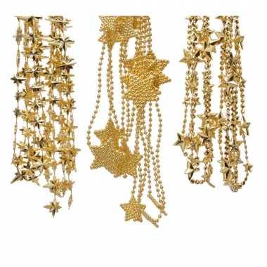 Kerstboomversiering 3x gouden kralenslingers met sterretjes 270 cm