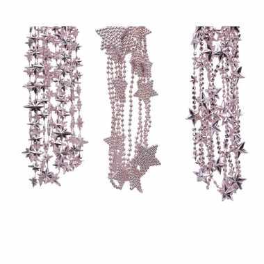 Kerstboomversiering 3x poeder roze kralenslingers met sterretjes 270 cm