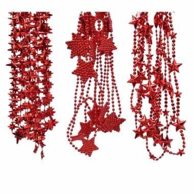 Kerstboomversiering 3x rode kralenslingers met sterretjes 270 cm