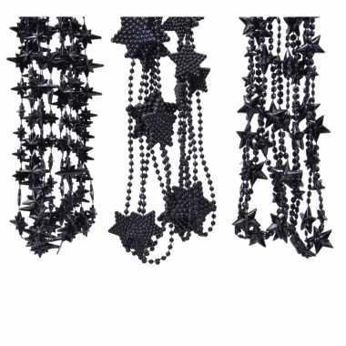 Kerstboomversiering 3x zwarte kralenslingers met sterretjes 270 cm