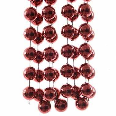 Kerstboomversiering kralenslinger donker rood 270 cm