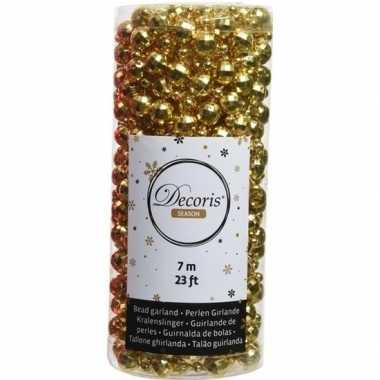 Kerstboomversiering kralenslinger goud 700 cm discoballetjes