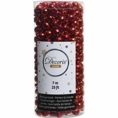 Kerstboomversiering kralenslinger rood 700 cm discoballetjes
