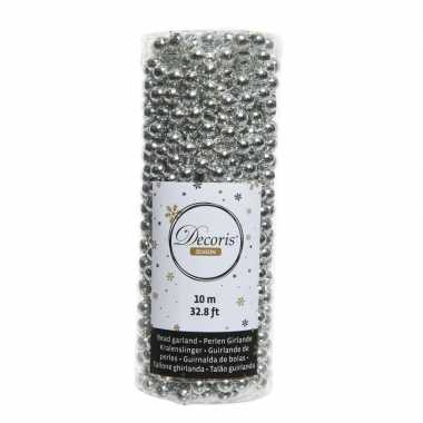 Kerstboomversiering kralenslinger zilver 1000cm