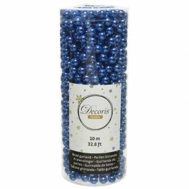 Kobalt blauwe kralenslingers kerstboom slinger/guirlande 10 meter