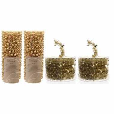 Set van 2x gouden kralenslingers kerstslingers 10 meter en 2x kerstboom sterren folie slingers goud