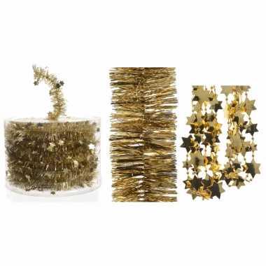 Set van gouden kerstboom sterren folie slinger 700 cm / kerstslinger 270 cm / kralenslinger 270 cm