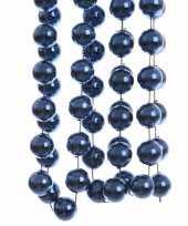 2x stuks donkerblauwe xxl kralenslingers kerstslingers 270 cm