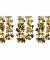 3x feestversiering kralen slinger goud sterretjes 270 cm kunststof plastic kerstversiering