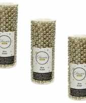 3x stuks champagne beige kralenslingers kerstboom slingers guirlandes 10 met