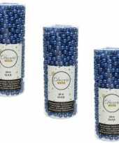 3x stuks kobalt blauwe kralenslingers kerstboom slinger guirlande 10 meter