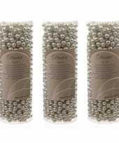 3x stuks zilveren kralenslingers kerstslingers 10 meter