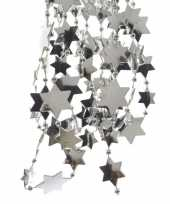 4x stuks zilveren sterren kralenslingers kerstslingers 270 cm