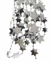 6x stuks zilveren sterren kralenslingers kerstslingers 270 cm